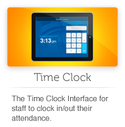 The employee Time Clock interface. Use pin '0000'  for the demo.